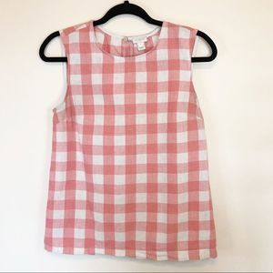 J. Crew Red Gingham Shell Tank